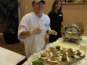 Servers at the food and wine pairing lunch at the Marcus Whitman Hotel (photo: Gretchen Sorensen)