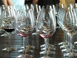 Empty tasting glasses at Col Solare (photo: Gretchen Sorensen)
