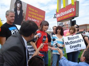 Chrissie Hynde at a McDonald's protest