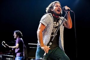 Eddie Vedder (foreground) and Stone Gossard of Pearl Jam (Alex Crick photo)