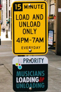 Musicians priority loading signs (photo: Rachel White)