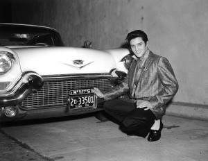 Elvis Presley and his 1957 Cadillac with Tennessee plates