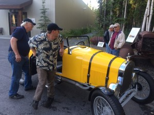 Auto restorers Al Murray (left) and Mike Conrad take turns driving the 1923 Mercury-bodied Ford Model T speedster (photo: Gene Stout)