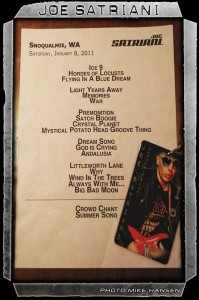 Satriani's set list (photo: Mike Savoia)